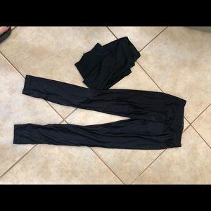 2 pair American Apparel Blk Leggings (wetlook) xs